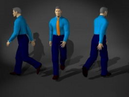 Man in dress shirt and tie 3d model preview