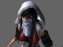 Female archer character 3d model preview