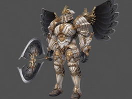 Full armor paladin with battleaxe 3d preview