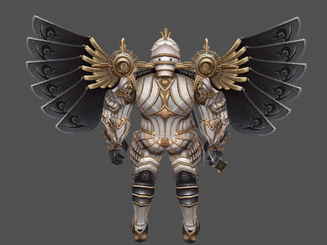 Full Armor Paladin With Battleaxe 3d Model 3ds Max Files