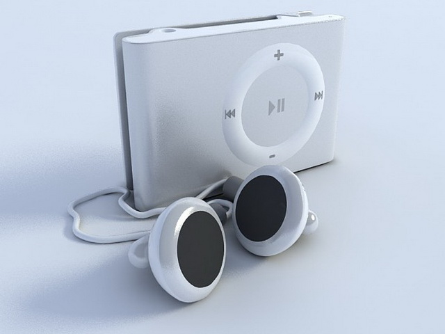 iPod Shuffle and earbud 3d rendering