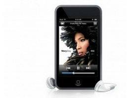 iPod Touch and earbuds 3d preview