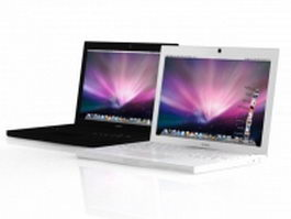 MacBook white and black 3d model preview