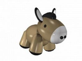 Cute cartoon donkey 3d model preview
