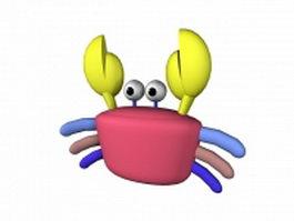 Funny crab cartoon 3d model preview