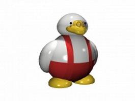 Cut artoon duck 3d model preview