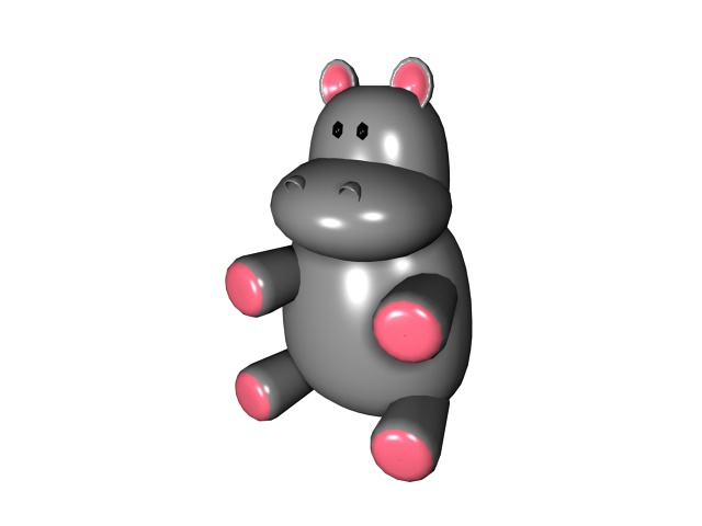 Cartoon baby hippo 3d rendering