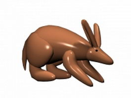 Cute kangaroo cartoon 3d model preview