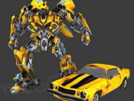 Rigged animated Bumblebee 3d model preview