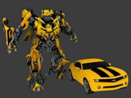 Animated Bumblebee transform 3d model preview