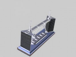 Twin tower building 3d model preview