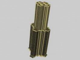 High-rise office towers 3d model preview