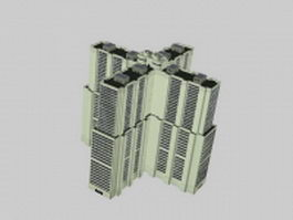 Modern residential buildings 3d model preview