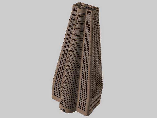 Pyramid building 3d rendering
