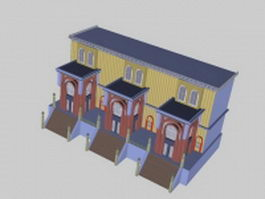 Modern townhouses 3d model preview