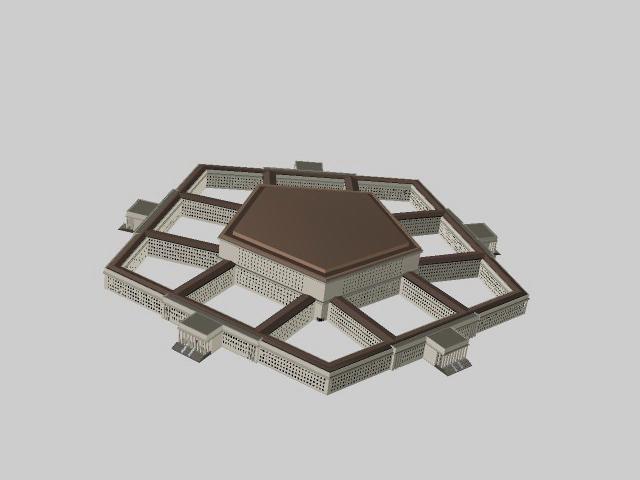Pentagon office building 3d rendering