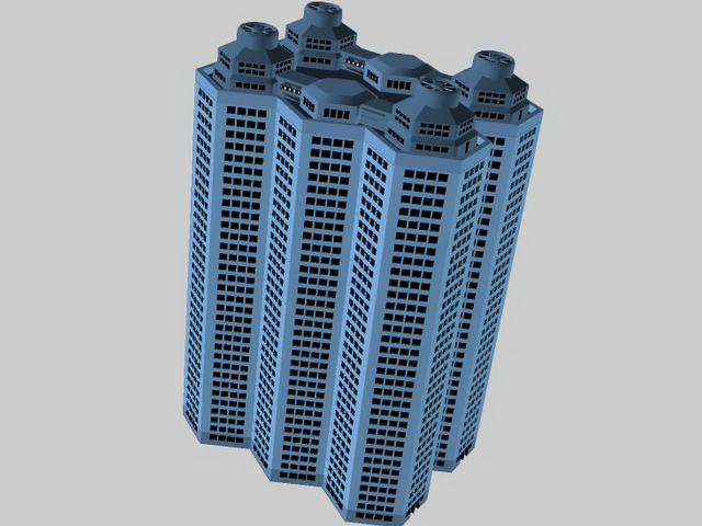 High-rise apartment building 3d rendering