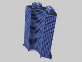 Curved hotel building 3d preview