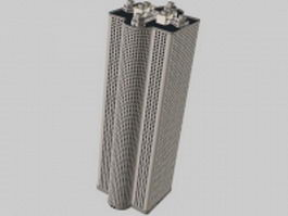 High-rise tower block 3d model preview