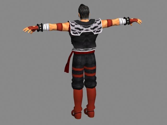 Anime fighter man 3d rendering