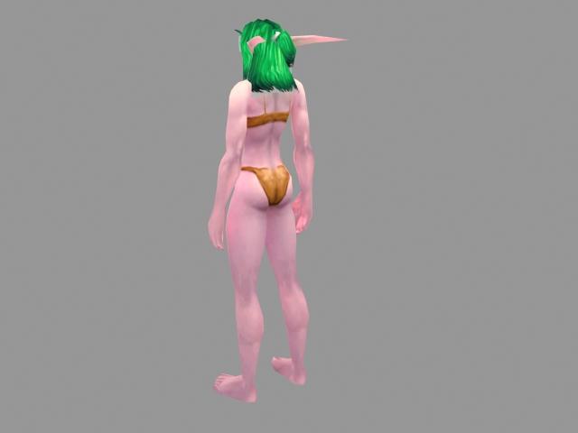 Night elf female character 3d rendering