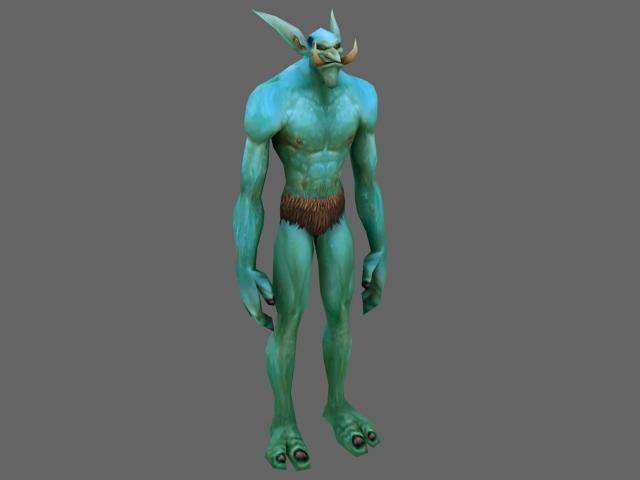 Troll male character 3d rendering