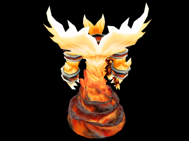Fire elemental 3d rendering