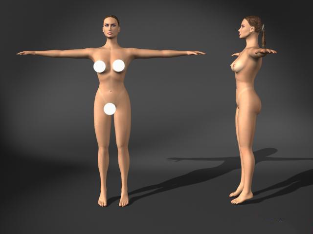 Woman nude 3d rendering
