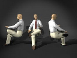 Businessman sitting pose 3d preview