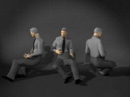 Man in sitting pose 3d preview