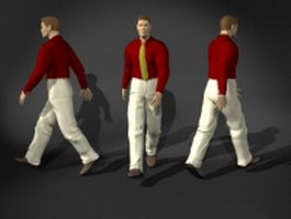Fashion business man in walking pose 3d preview