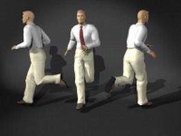 Business man in running pose 3d preview