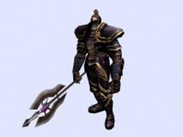 Warrior armor and weapon 3d model preview