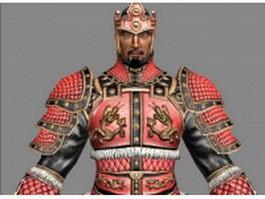 Ancient samurai warrior 3d model preview