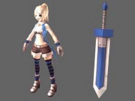 Young girl swordsman 3d model preview