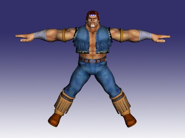 T. Hawk in Super Street Fighter 3d rendering