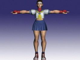 Sakura Kasugano in Street Fighter 3d model preview