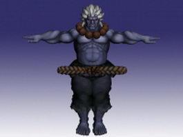 Akuma in Super Street Fighter 3d model preview