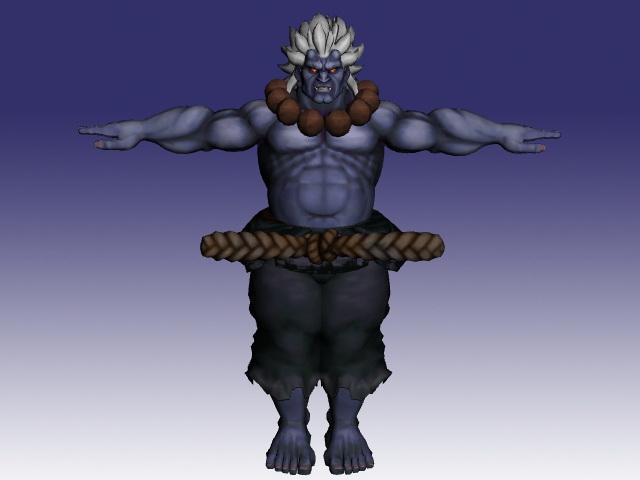 Akuma in Super Street Fighter 3d rendering