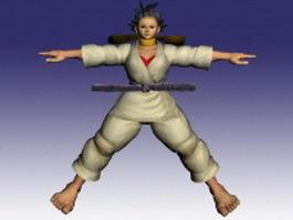 Makoto in Street Fighter 3d model preview