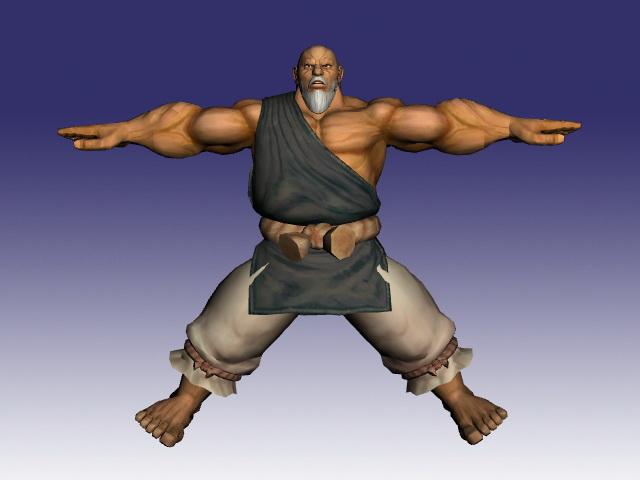 Gouken in Street Fighter 3d rendering