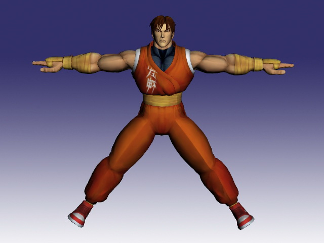 Guy in Super Street Fighter 3d rendering
