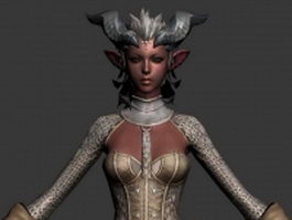Dark Elf female 3d model preview