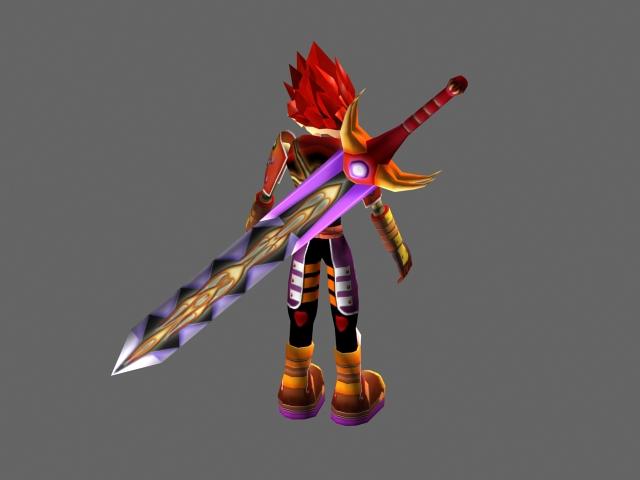 Warrior boy anime 3d rendering