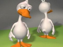 Cartoon white duck 3d model preview