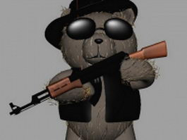 Teddy bear with glasses 3d model preview