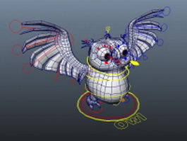 Cartoon owl rigged 3d model preview