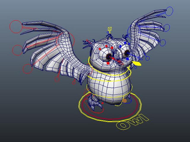 Cartoon owl rigged 3d rendering