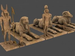 Egyptian statues 3d preview