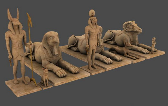 Egyptian statues 3d rendering